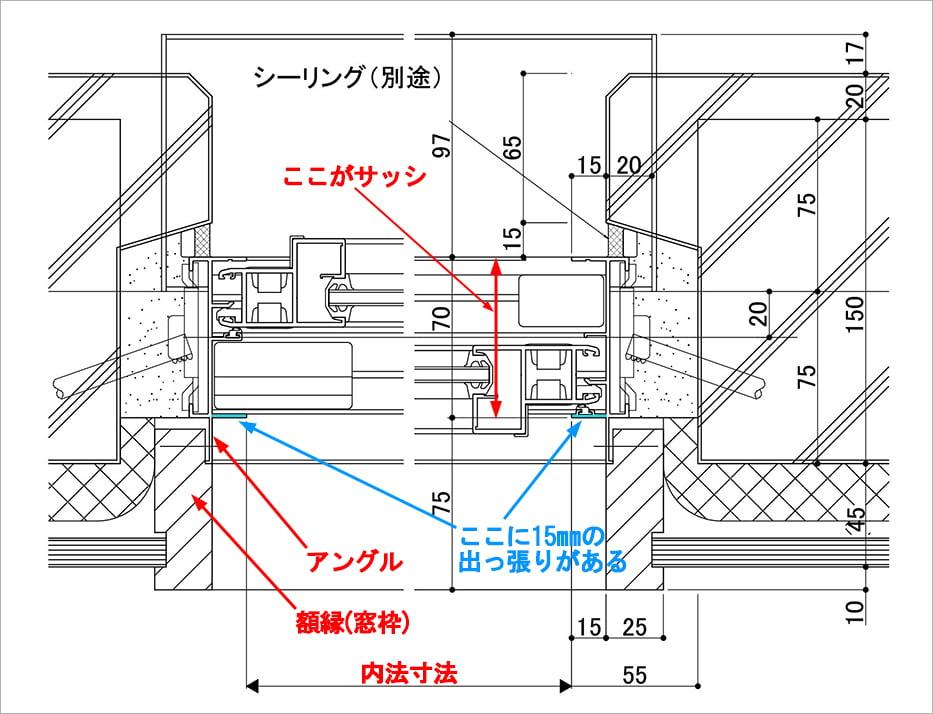 ビル用サッシの内法寸法解説(サッシ図)
