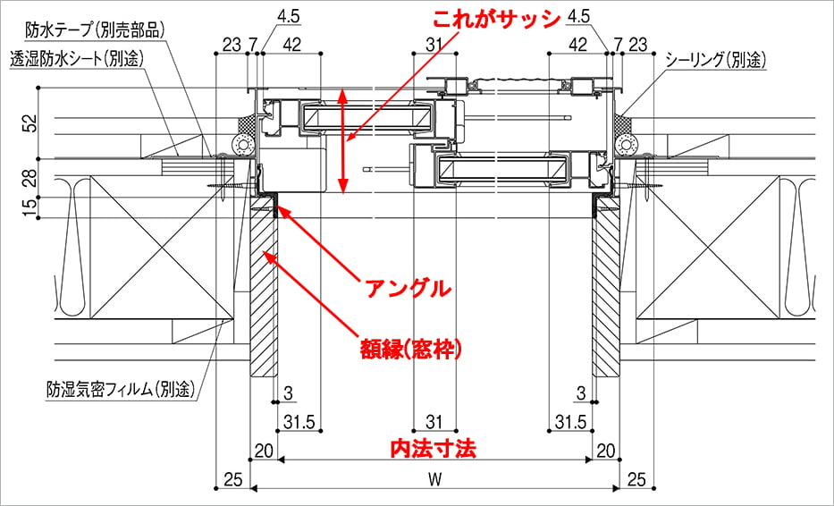 木造サッシの内法寸法解説(サッシ図)