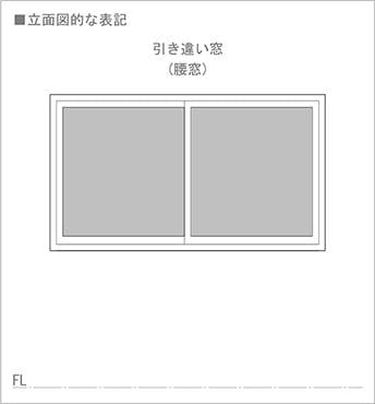 図3:引き違い窓(腰窓の場合) の立面図での書き方(図面表記)を表した図面画像