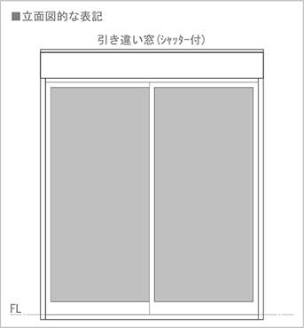 図5:引き違い窓(掃き出し窓の場合)の立面図での書き方(図面表記)を表した図面画像