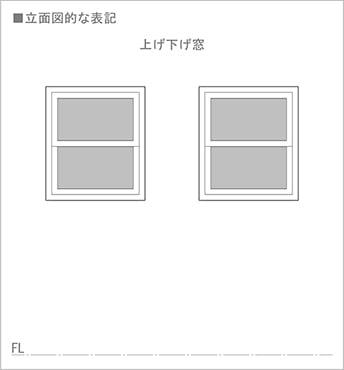 図1:上げ下げ窓の立面図での書き方(図面表記)を表した図面画像1 ※やや不親切な上げ下げ窓の表記例