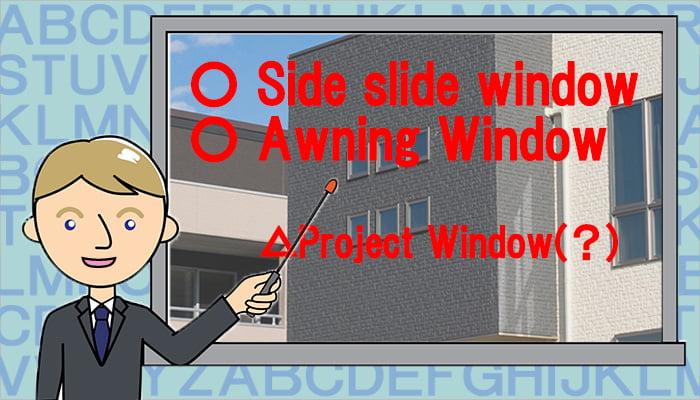 挿絵:横滑り出し窓の英語表記(英訳)を連想させるイラスト画像