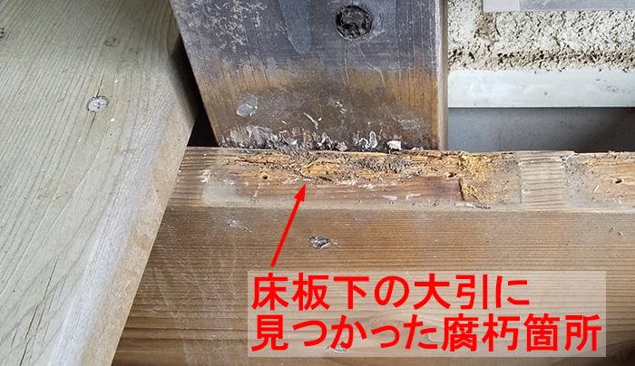 2020年9月にデッキ床板下で見つかった腐朽箇所を撮影したコメント入り写真画像 (組んでからの塗装だと重なり部が塗れないため腐朽を生じてしまう例)