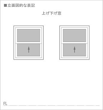 図3:上げ下げ窓の立面図での書き方(図面表記)を表した図面画像2 ※シングルハングの上げ下げ窓の図面表記例