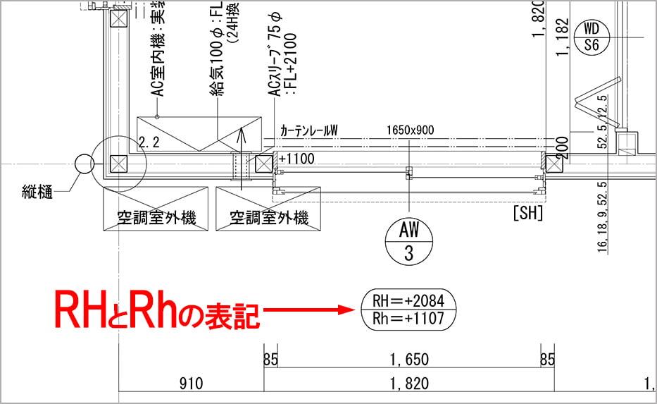 とあるお宅の平面詳細図上に見られる略語「RH」と「Rh」表記を図示した解説コメント入り図面画像