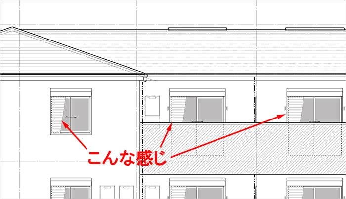 シャッター付き引き違い窓の立面図での別の書き方(図面表記)例を表した解説コメント入り図面画像