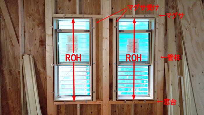 略語ROHの具体例:とある在来工法のお宅の現場写真に略語ROHが示す範囲を図示した解説用コメント入り写真画像