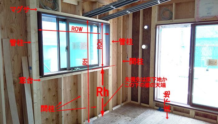 略語Rhの具体例:とある在来工法のお宅の現場写真に略語Rhが示す範囲を図示した解説用コメント入り写真画像