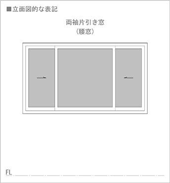 図3:二枚引きの片引き窓(腰窓タイプ)の立面図での書き方(図面表記)   ※片引き窓の書き方(図面表記)解説スケッチ3