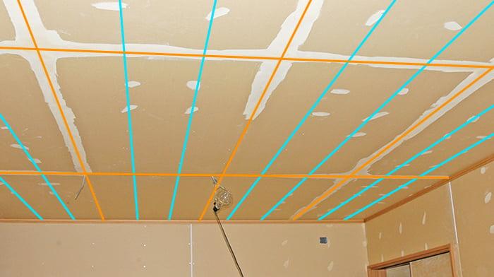 前写真のパテ施工中の様子に天井下地位置イメージを描き込んだ解説用写真画像